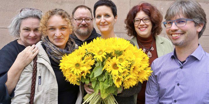 Gruppenbild Fachgruppe Freie im BJV: Anne Webert, Adriane Lochner, Martin Semmler, Michaela Schneider (ausgeschieden), Marion Trutter und Johannes Michel (neu)