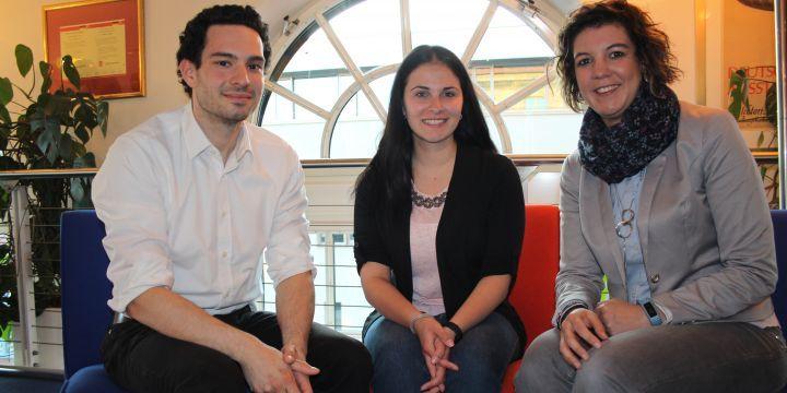 Freut sich auf ihre neue Aufgabe: Aileen Gonda mit ihren Vorgängern Christian Pfaffinger und Alexandra Haderlein