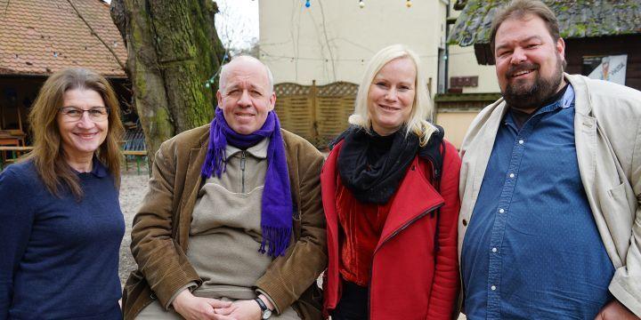 Gruppenbild der neuen Vorsitzenden der Fachgruppe Print: Margit Conrad, Bernd Schöne, Judith Stephan und Wolfgang Grebenhof